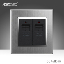 CE Wallpad AC 110-250V Dual USB Socket Port Silver Satin Metal UK US EU Double USB Charger Wall Socket Plug with LED Indicator