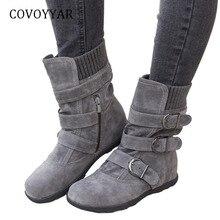 COVOYYAR/Лидер продаж года; Модные женские ботинки; удобные ботильоны для верховой езды с пряжкой; сезон осень-зима; женская обувь из флока на плоской подошве; большие размеры; WBS965