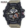 READ марка топ Спорт Военная наручные группа часы для мужчин Большой циферблат Цифровой Секундомер будильник календарь Двойной Дисплей