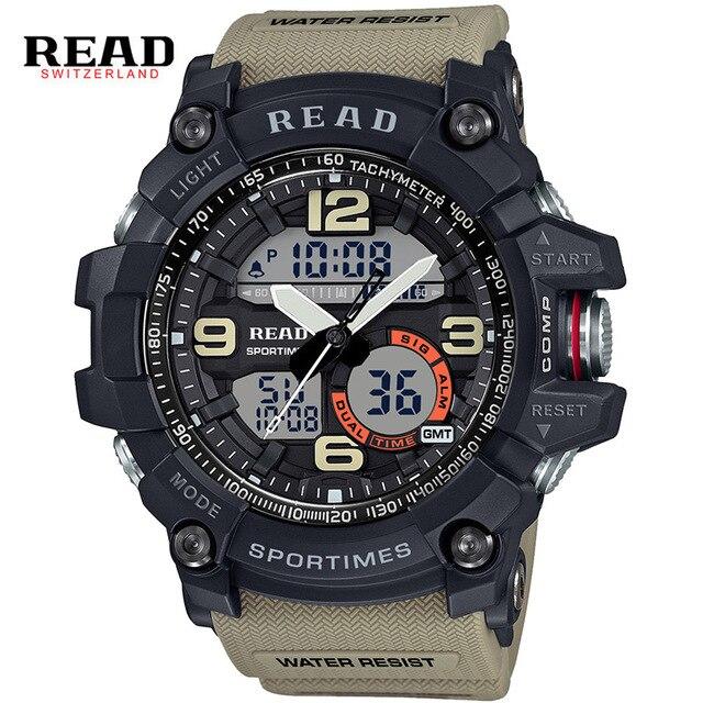 Read marca top nuevos deportes militares relojes de pulsera de banda para los hombres grandes de dial digital cronómetro reloj despertador calendario pantalla dual