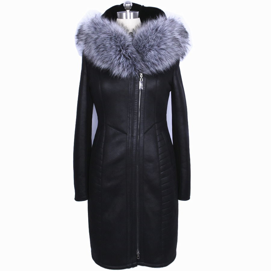 Factory Direct Supplier Collar Fox Fur Women Coat Winter Fashion Sheepskin Faux Slim Hooded Thickened Fur