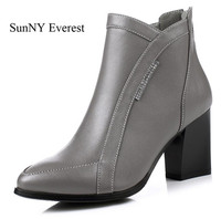SunNY Everest Women Boots Real Leather Cow Rubber Sole High Heels 7cm Lady Shoes Zip Botas