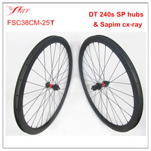 China CX wheels 700C 38mm x 25mm clincher tubeless with DT 240s disc hubs and Sapim spokes , hot-selling Cyclocross bike wheels