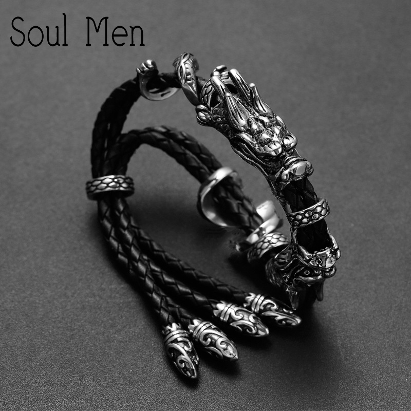 купить Soul Men New Ancient China Dragon Genuine Leather Bracelets for Men Plaited bangles Male Boys personal Summer Men Jewelry по цене 1699.94 рублей