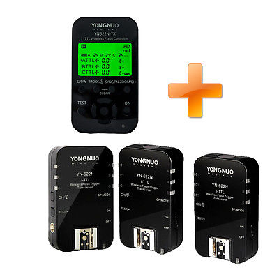 Yongnuo yn622n YN-622N-TX Wireless TTL Flash Controller Trigger & 3PC YN-622N for Nikon D3 D2X D800E D800 D700 D5100