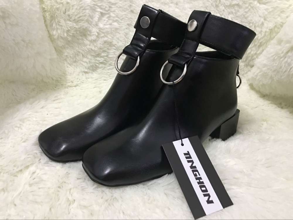 TINGHON 2017 New Women ankle boots Cut-Outs Retro Martin boots Square Toe Metal rings zip shoes for ladies luxury design