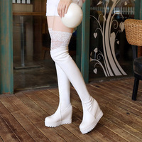 Winter boots female over the knee long boots leather lace white sleeve stretch boots new fashion women's boots.