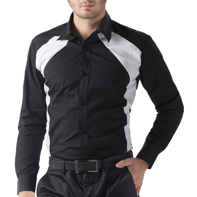 New 2016 White black Men Shirt Autumn business Mens Slim Fit Long Sleeve Dress Shirts Casual Brand Chemise Homme Camisas Hombre