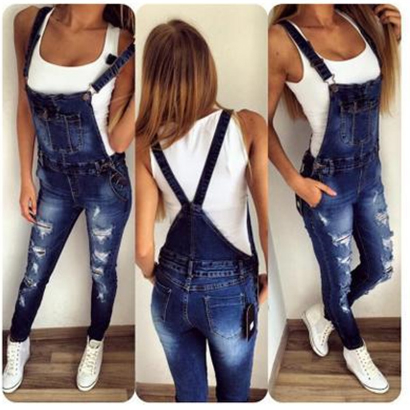 2019 new hole fashion stretch one-piece denim straps feet pants hole slim slim   jeans   casual   jeans   plus size 3xl