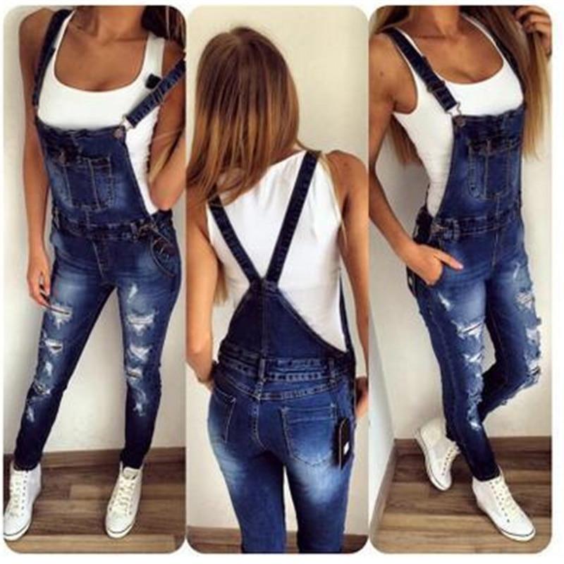 2019 New Hole Fashion Stretch One-piece Denim Straps Feet Pants Hole Slim Slim Jeans Casual Jeans Plus Size 3xl