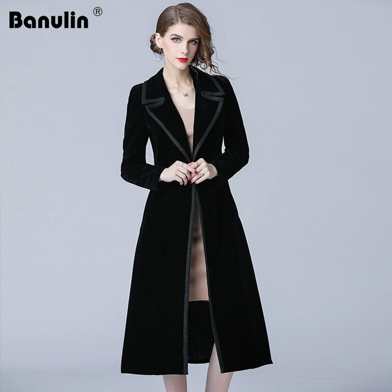 Banulin 2018 Winter Runway Designer Women Vintage Notched Collar Wrap Black Velvet Maxi Coat Thick Warm Long   Trench   Coat Outwear