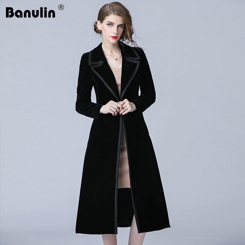 Banulin 2019 Winter Runway Designer Women Vintage Notched Collar Wrap Black Velvet Maxi Coat Thick Warm Long Trench Coat Outwear