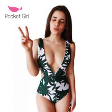 Pocket Girl 2017 Sexy One Piece Swimsuits Strappy High Waist Deep V Swimwear Women Floral Bodysuit