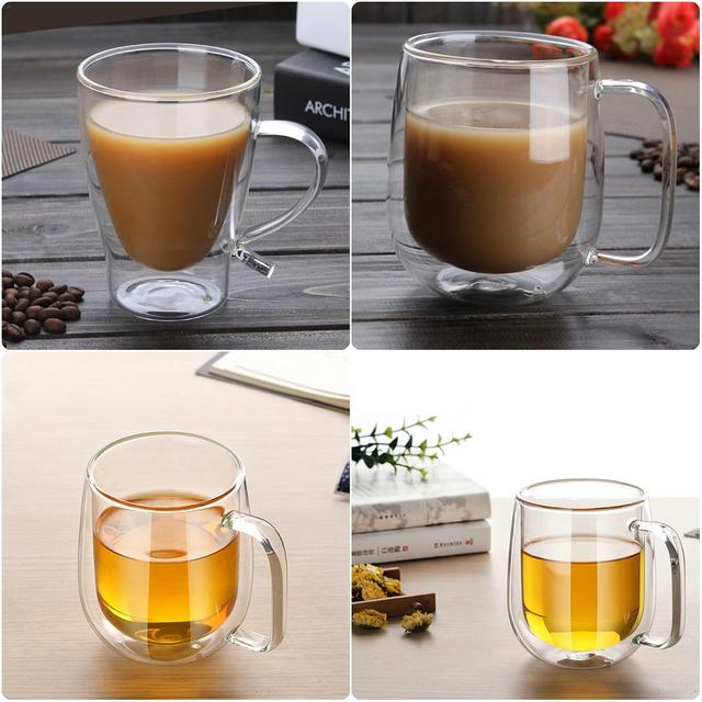 300ml Double Wall Coffee Gl Mugs With Handle Wine Beer Cup Heat Resistant Transpa Drinkwares