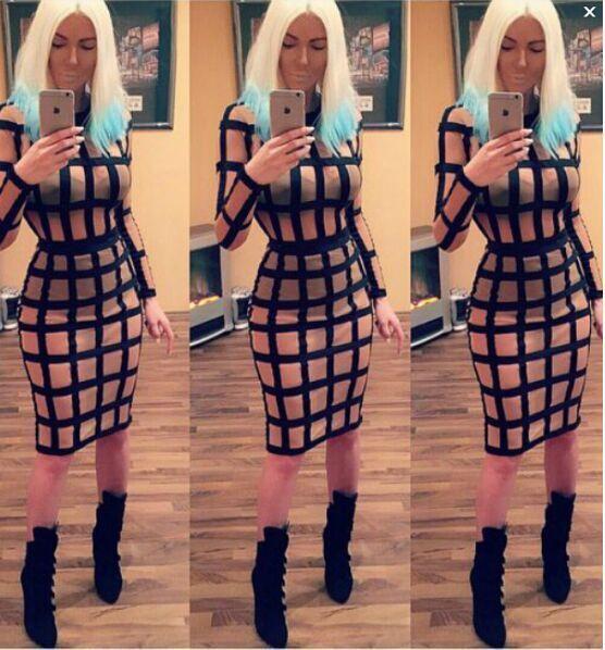Sexy Bandage Nouveau Manches Cou D'été Mesh O Noir Longues Robe En black Mesh Moulante À 2015 Maille Femmes Mini Beige Gros 1qqpv