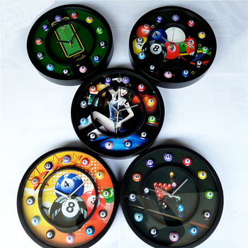 Creative billiard style decorative wall clock Personality bar shop decoration cartoon wall clock