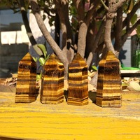 4 Pieces Natural Tiger Eye Quartz Crystal Stone Points Obelisk Tower Polished Healing