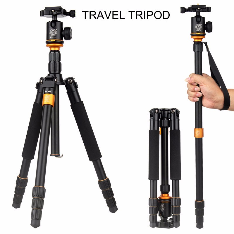 QZSD Q999S кәсіби фотокамерасын жаңарту Portable Aluminium Ball Head + Monopod үшін штативті Canon Nikon Sony DSLR камера тіреуіші үшін