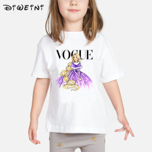 VOGUE Princess Print Girls T shirt Cartoon Funny Casual Kids Clothes Summer Harajuku White Baby T-shirt 2019 Camisetas T-shirts