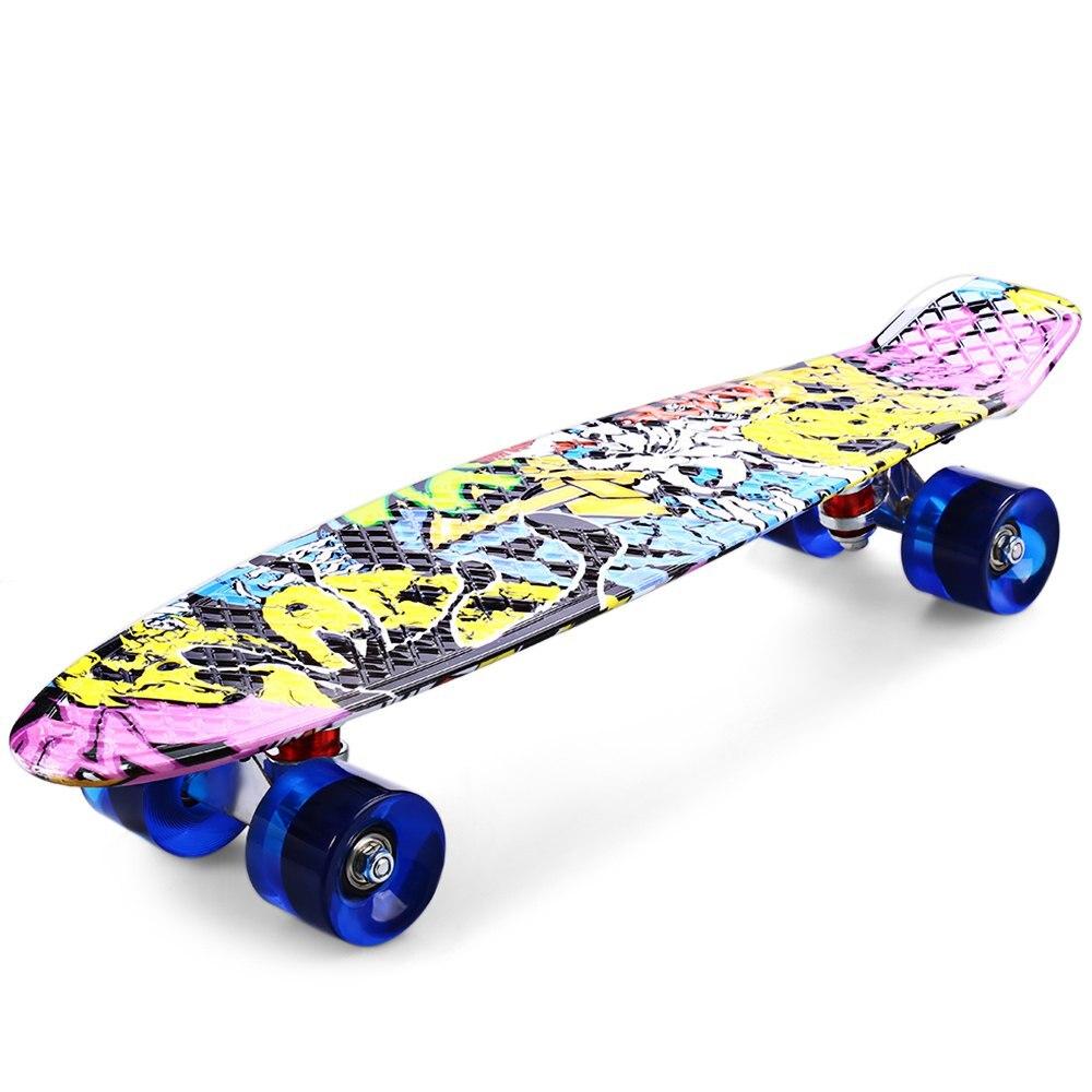 2016 Freestyle impression rue 22 pouces longue planche à roulettes complète rétro Graffiti Style Skateboard Cruiser longue planche à roulettes