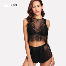 ФОТО colrovie floral lace top and shorts pajama set 2018 new fashion spring black sexy female sleepwear floral button pajama set