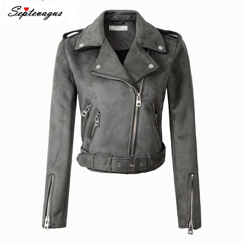 2019 New Women Fashion Autumn Winter Suede Faux Leather Jackets Lady Matte Motorcycle Coat Biker Gray Pink Beige Outwear
