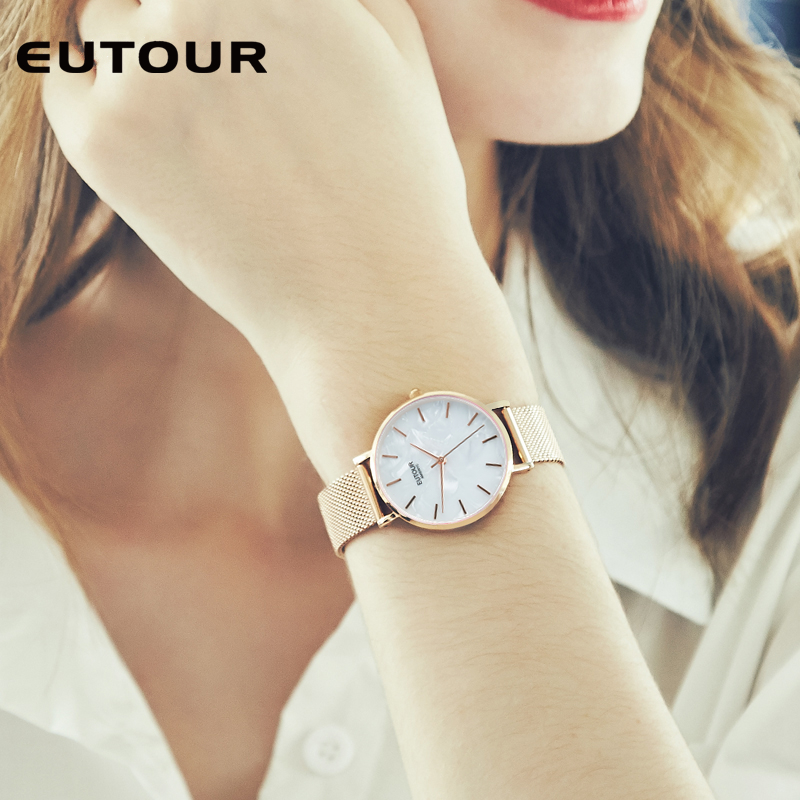 EUTOUR Fashion Quartz Watch Women Watches Ladies Girls Famous Brand Wrist Watch Men Female Clock Montre Femme Relogio Feminino kinyued fashion quartz watch women watches ladies girls famous brand wrist watch female clock montre femme relogio j016s 1