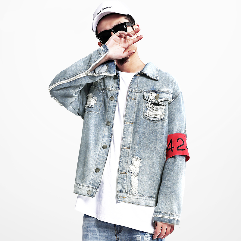 7e263d98df 424 FourTwoFour New Euro America High Street Destroy Washed Distressed  Denim Jacket Men Tide Brand Loose Jacket chaqueta hombre-in Jackets from  Men s ...