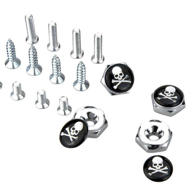 US $12 05 27% OFF|Skull Emblem Car License Plate Frame Bolts Screws For  chevrolet lacetti audi a3 8v renault duster hyundai i30 ford mondeo mk4-in  Car