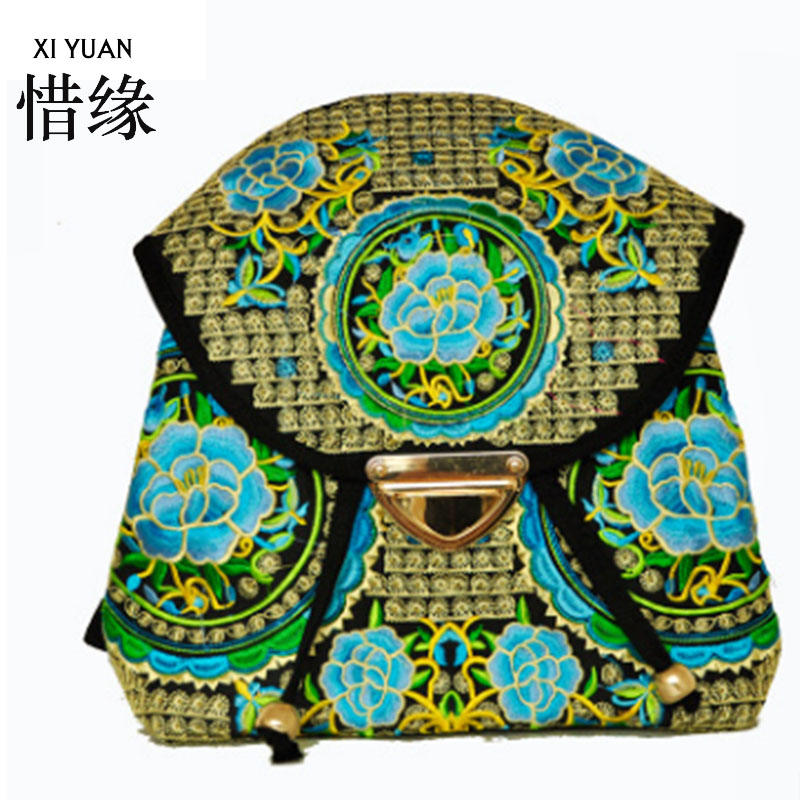 XIYUAN BRAND handmade women national ethnic flowers embroidery embroidered bags bag 2016 ethnic embroidered black cami dress for women