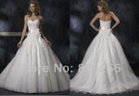 In Stock Free Shipping 2013 Cheap White Ivory Ball Gown Organza Elegant Wedding Dresses Gowns With