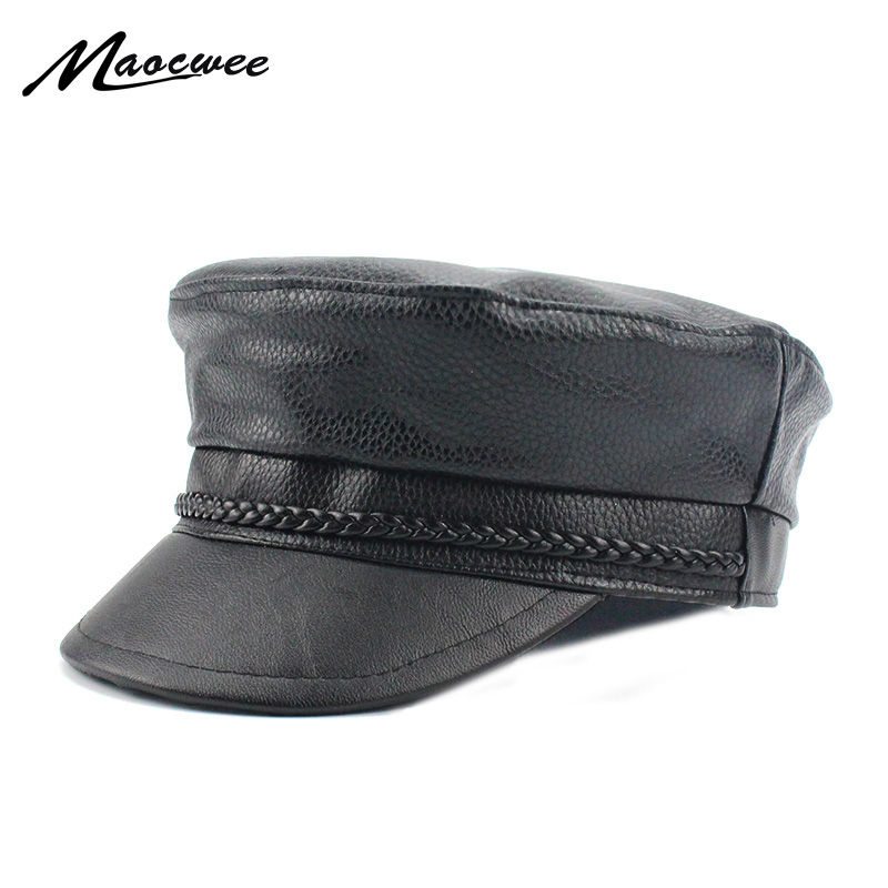 New 2018 Spring PU Hats Faux Leather Casual Thermal Men Military Hat Short  Brim Cadet Adult 510e5b1dd9e8