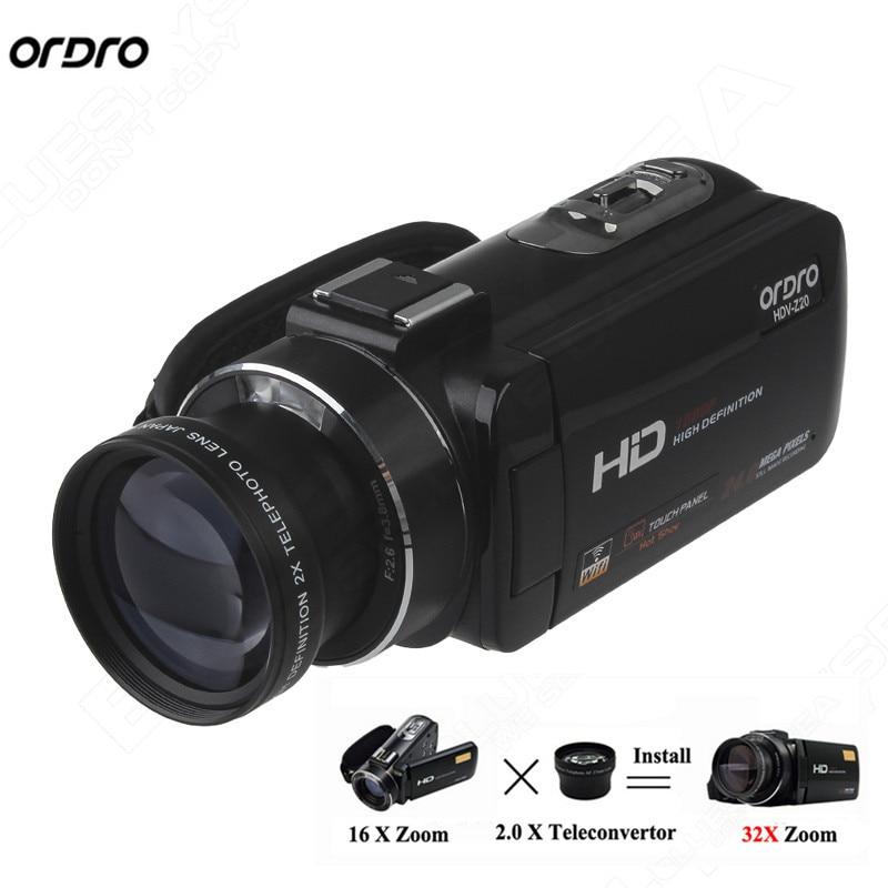ORDRO Digital Video Camcorder Camera 1080P 24MP+0.45X Wide Lens+2X Teleconvertor Free shipping