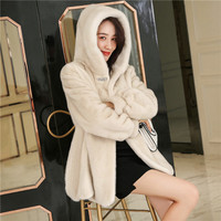 Mink coat women's coat 2019 winter new hooded warm jacket mink fur women's jacket