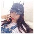 2016 bonés de beisebol chapéu arco orelhas de coelho Coreano lindo mulheres chapéu feminino verão