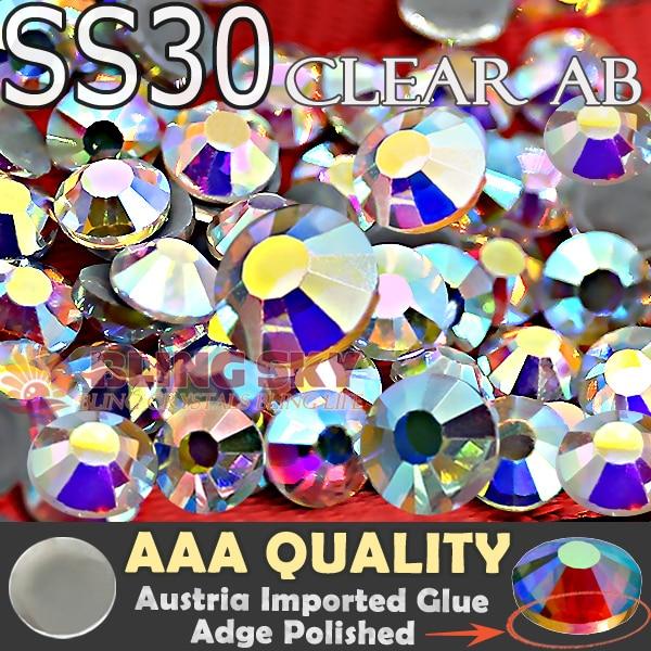 AAA Minőségi HotFix strasszos SS30 Clear AB kristály 288db / táska Lapos hátsó strass üveg kő Trim DIY esküvői ruházati ruházathoz