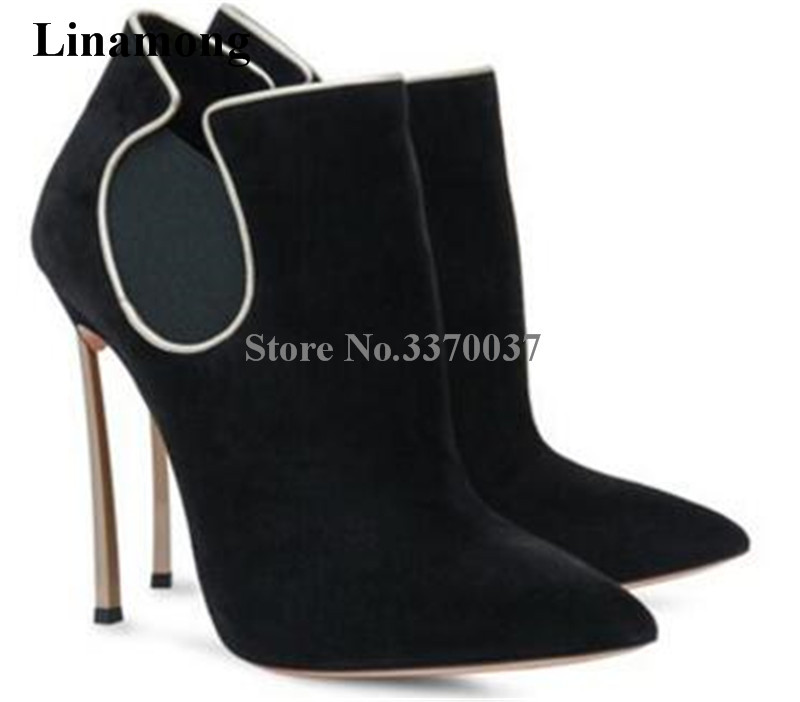 Brand Design Women Fashion Pointed Toe Suede Leather Metal Stiletto Heel Short Boots Sexy Strange Heel Ankle Booties Dress Shoes fashion women s sandals with metal and stiletto heel design