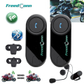 Free shipping!!2PCS FreedConn Brand Motorcycle Motorbike BT Bluetooth Multi Interphone Headset Helmet Intercom With FM Radio