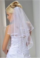 wuzhiyi 2017 In Stock Hot Sale Handmade White 2 tiered New Arrival Fast Delivery Ribbon Edge Wedding Bridal Veil With Comb A698