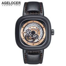 Unique Design Display Automatic Watches Switzerland AGELOCER Famous Brand Watch Luxury Men Wrist watch Square gun metal PVD