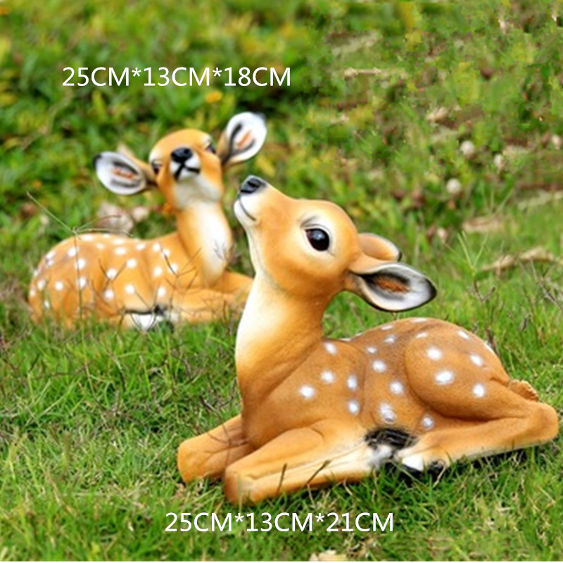 Creative Simulation Couples Sika Deer Colophony Crafts European style Sculpture Model Outdoor Furnishing Articles G1061 sika deer style rhinestone zinc alloy brooch golden