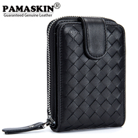 PAMASKIN Luxurious Sheepskin Handmade Knitting Women And Men Credit Card Holder 2018 New Arrivals Driver License