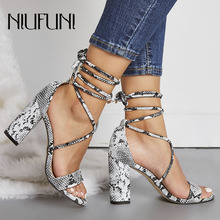 Plus Size 35-42 Sexy Snake Pattern Ankle Straps Womens Sandals 2019 Fashion New Thick With High Heels Casual Shoes NIUFUNI