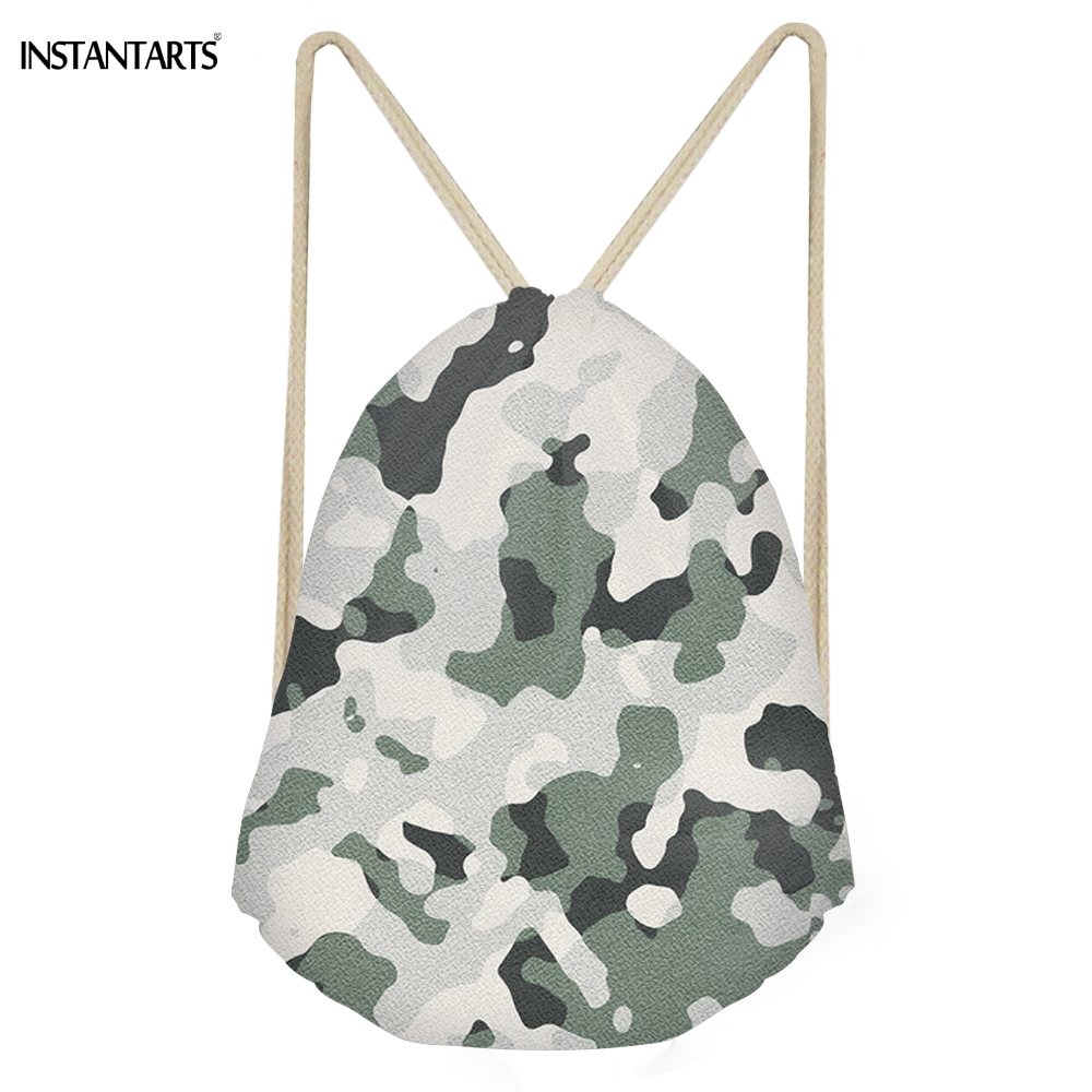 INSTANTARTS Simple Women Men Drawstrings Bags 3D Camouflage Printed Boys Girls Storage Backpacks Multifunction Travel Beach Bags