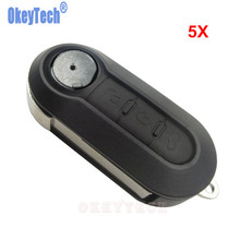 OkeyTech 5PCS/LOT 3 Button Smart Remote Folding Car Key Case Portable Car Key Shell Fit for Fiat 500 Car Styling Car Accessories