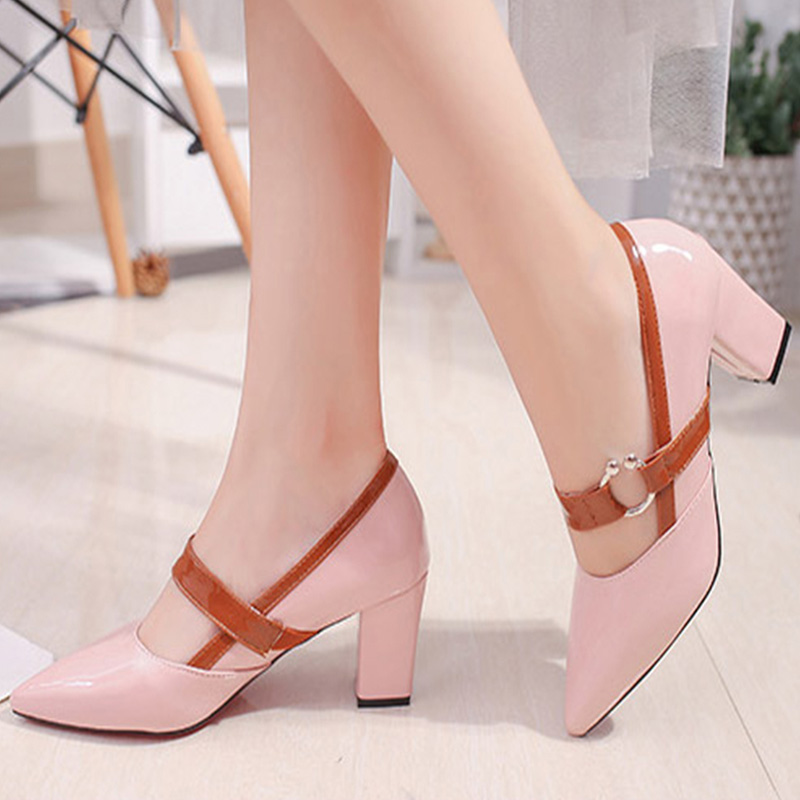 Women Metal Pointed Toe Chunky Heel Spring Autumn Dress Pumps 2018 Ladies Med Heel Mary Janes Female Elegant Fashion Shoes black smooth leather women pointed toe ankle buckle pumps deep v back ladies blade heel shoes spring fashion female dress shoes