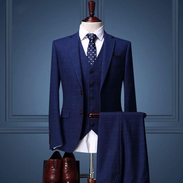 Brand Mens Suit Wedding Suits For Men Royal Blue Plaid Tuxedo Slim Fit High Quality