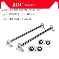 Linear Round Rod 2pcs Dia. 8mm Linear Shaft Rod + 4pcs SCS8UU Linear Motion Block Bearing +4pcs SK8 Linear Shaft Support