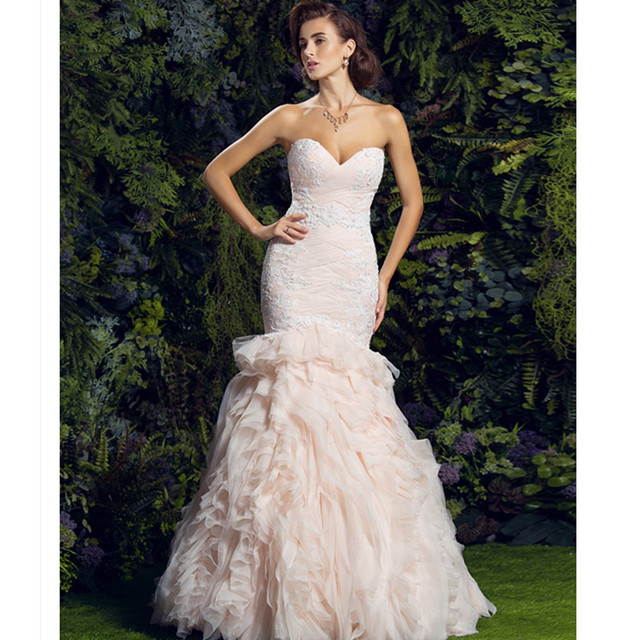 3816fc72c0f4 LAN TING BRIDE Mermaid Trumpet Wedding Dress Backless Sweetheart Court  Train Lace Tulle Bridal Gown with Appliques Ruffles
