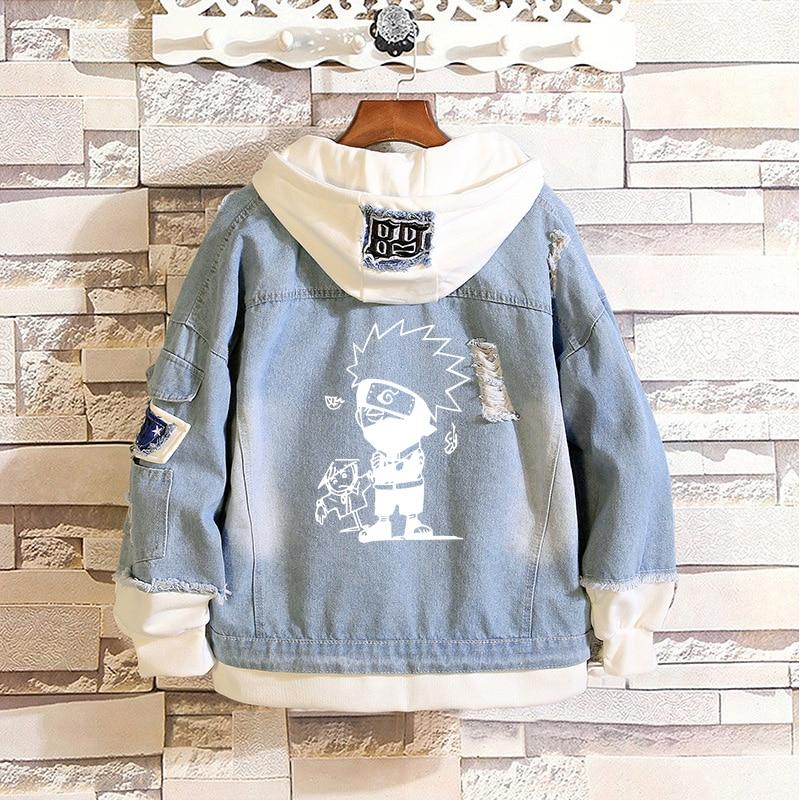Chaos World Mens Denim Jacket Japanese Anime Naruto Sweatshirt Cosplay Jeans Coat